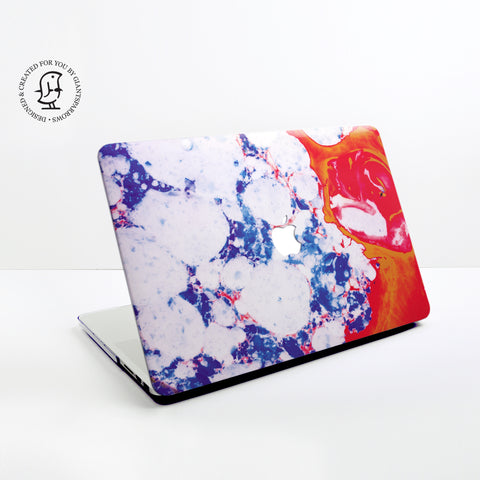 Marble Blue, White & Red Marbling Design Hard Protective Case for all MacBooks