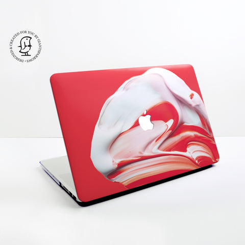 Paint Swirl, Mix of Red and White Paints Design Hard Protective Case for all MacBooks