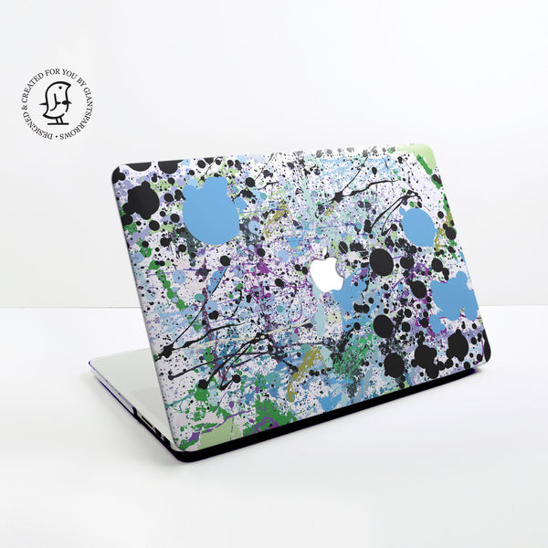 Paint Splat in Green, Black and Blue Design Hard Protective Case for all MacBooks