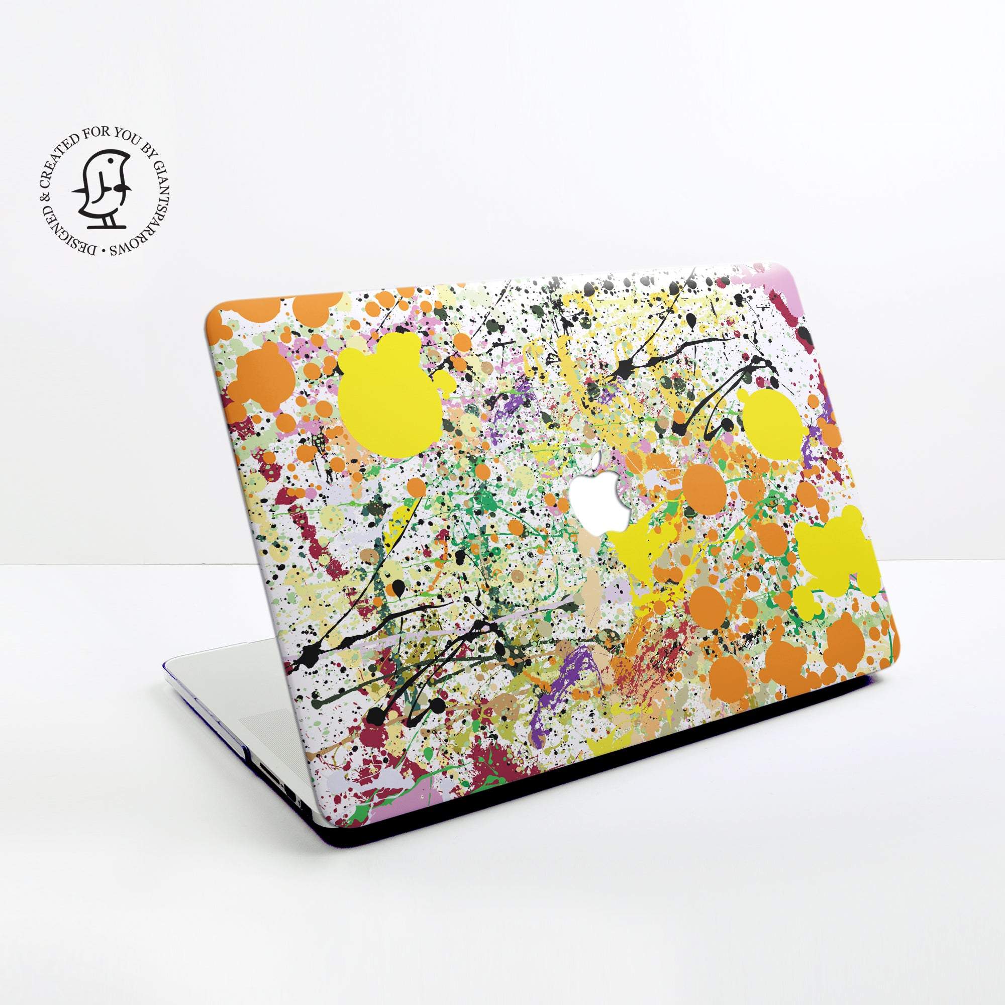 Paint Splat in Orange, Black and Yellow Design Hard Protective Case for all MacBooks