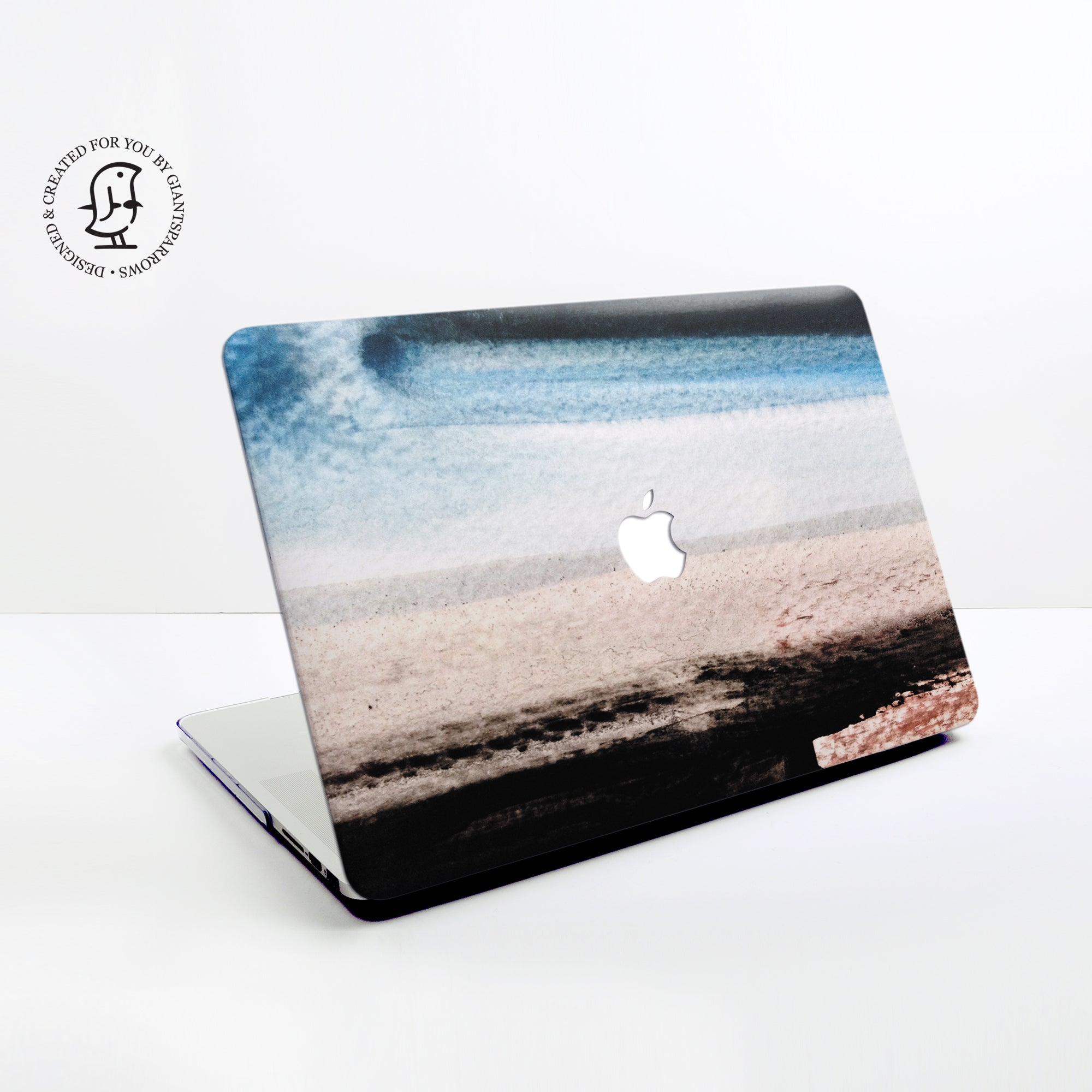 Blue, Brown and White Watercolour Stripes Design Hard Protective Case for all MacBooks