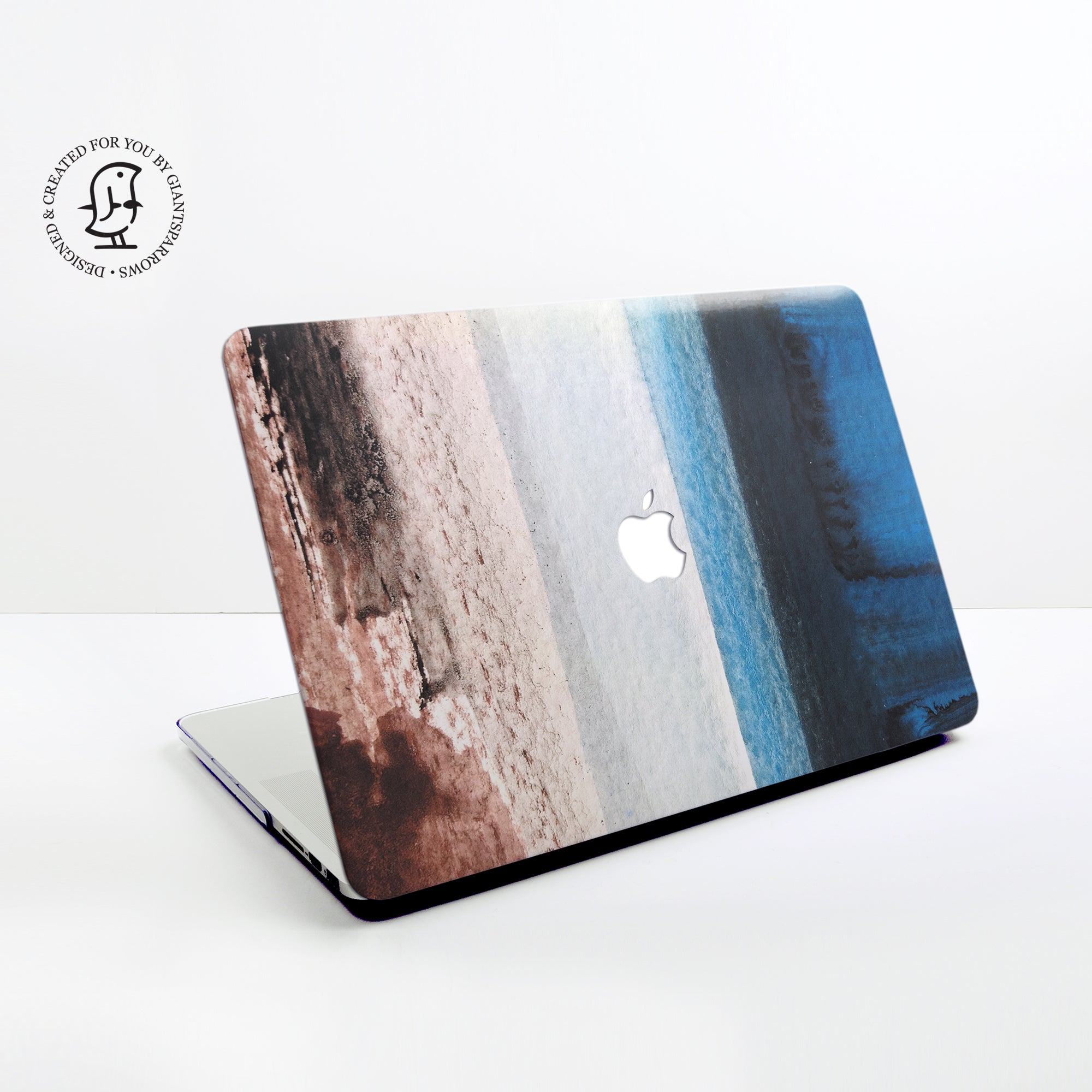 Blue, Brown and Grey Watercolour Stripes Design Hard Protective Case for all MacBooks