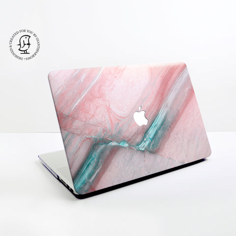 Rose Pink Marble with Turquoise Details Design Hard Protective Case for all MacBooks