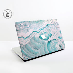 Marble Turquoise and White Design Hard Protective Case for all MacBooks