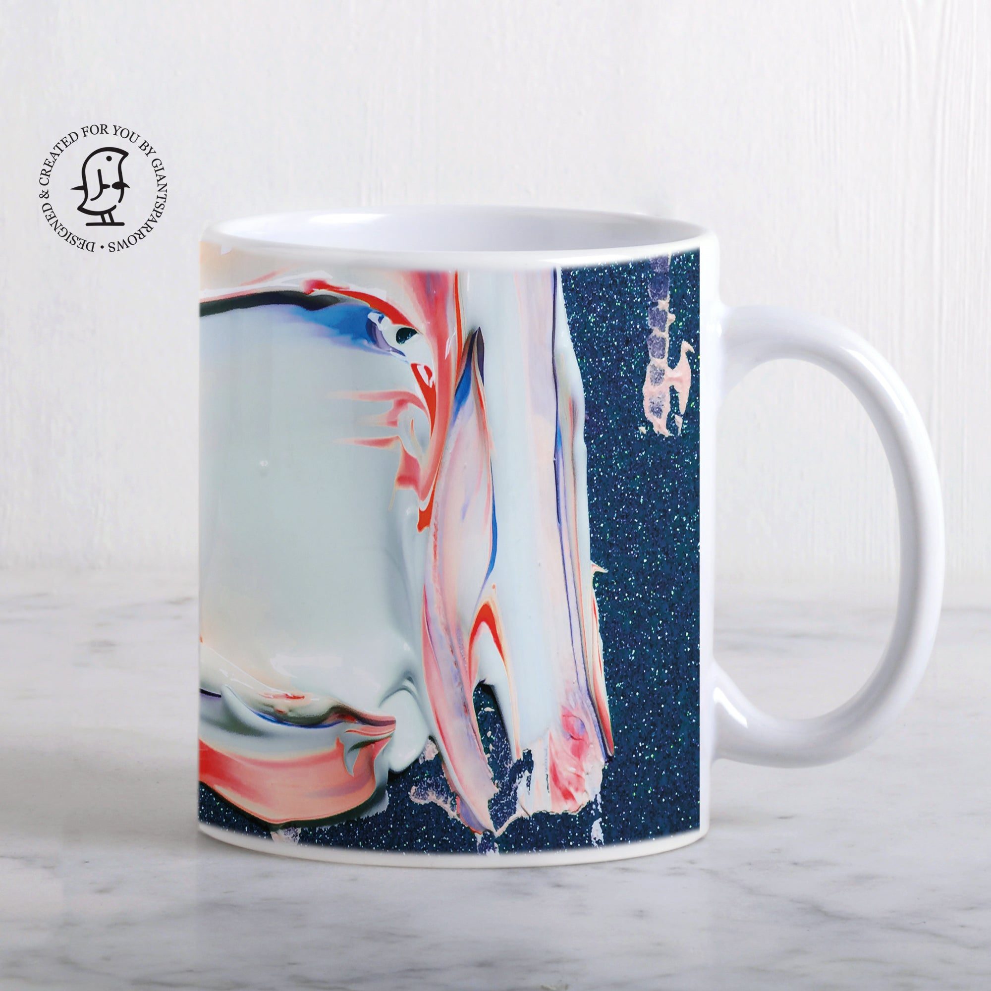 Glittery Blue, Pink and White Paint Mix Mug