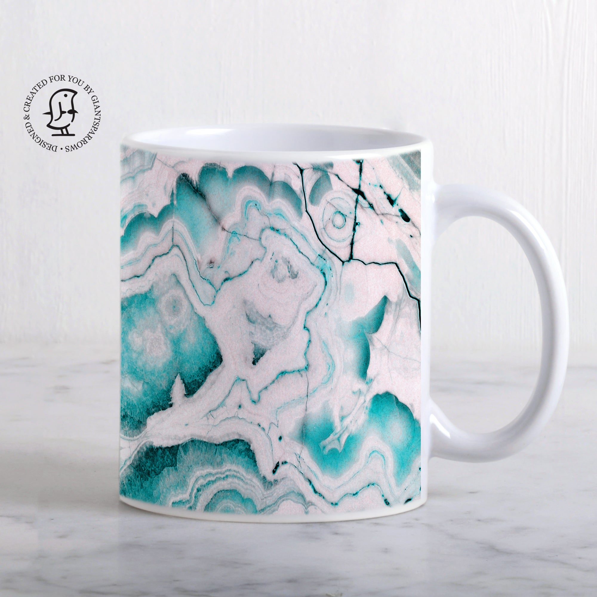 Turquoise and Rose Gold Marble Design Mug