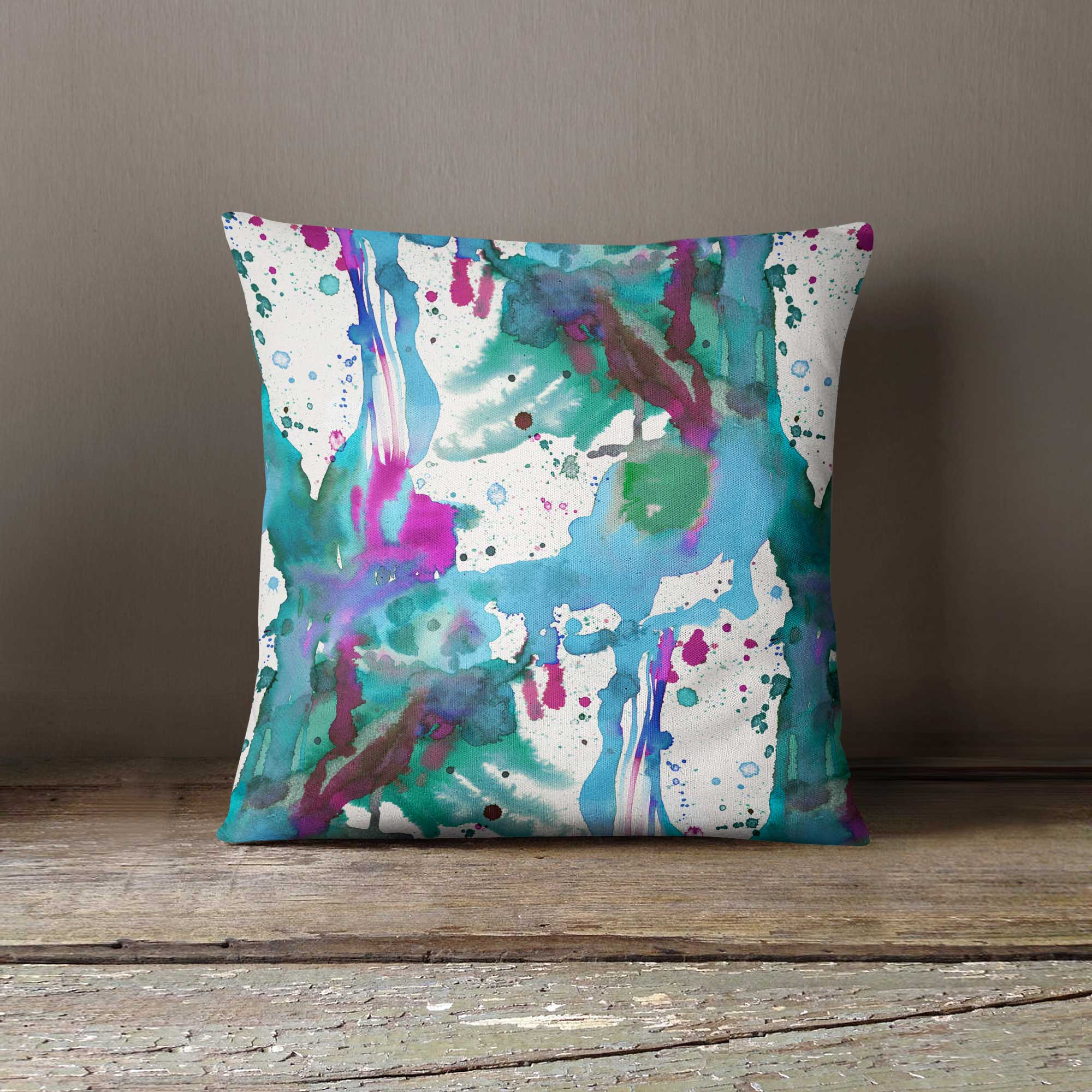 Ninola Design Watercolour Abstract Paint Splashes Cushion