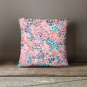 Ninola Design Pink Speckled Watercolour Paint Dots Cushion