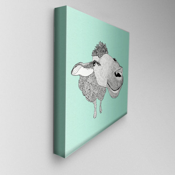 Illustrated Sheep Canvas Picture