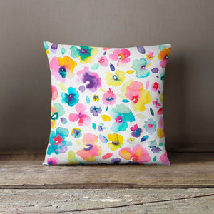 Ninola Design Tropical Flower Floral Watercolour Cushion