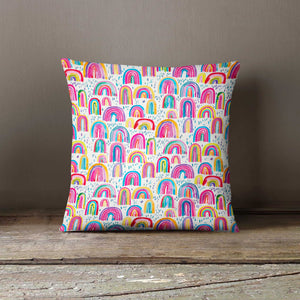Ninola Design Rainbow Print Watercolour Cushion