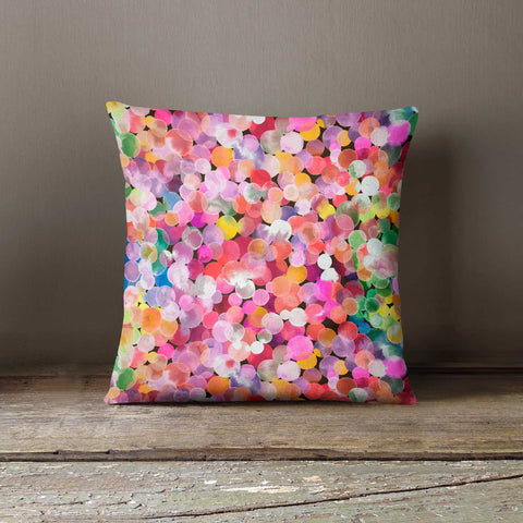 Ninola Design Abstract Pink Watercolour Dots Cushion