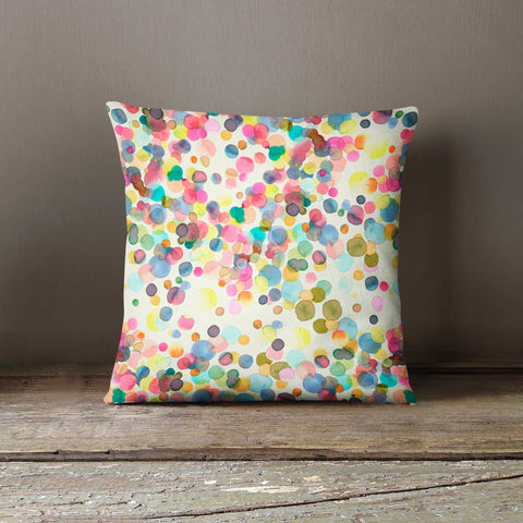 Ninola Design Watercolour Paint Dots Polka Dot Cushion