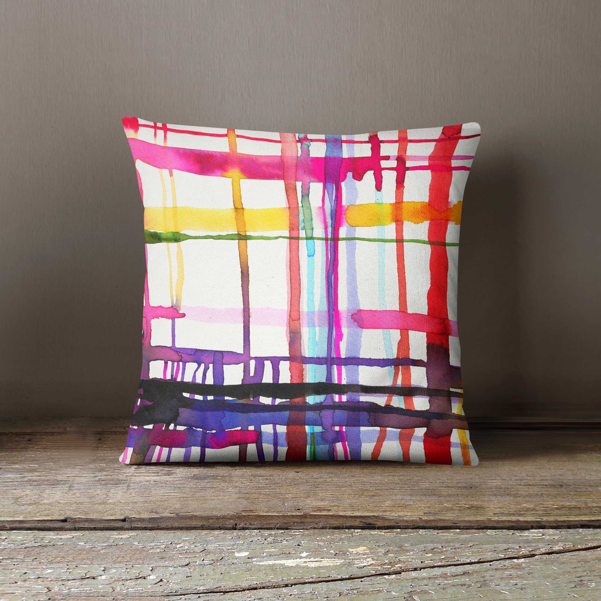 Ninola Design Abstract Geometric Lines Watercolour Cushion