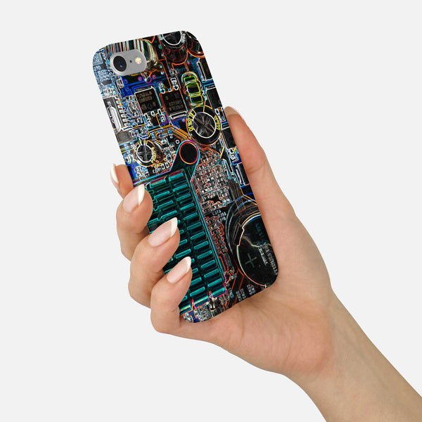 Circuit Board Phone Case - Neon Motherboard