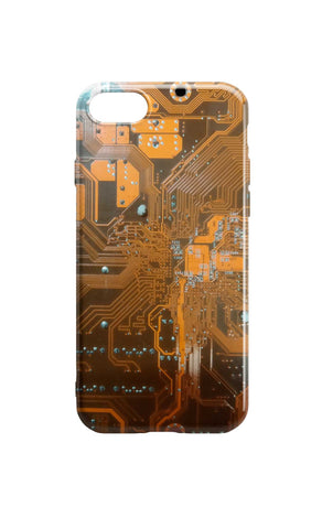 Circuit Board Phone Case - Orange/Brown
