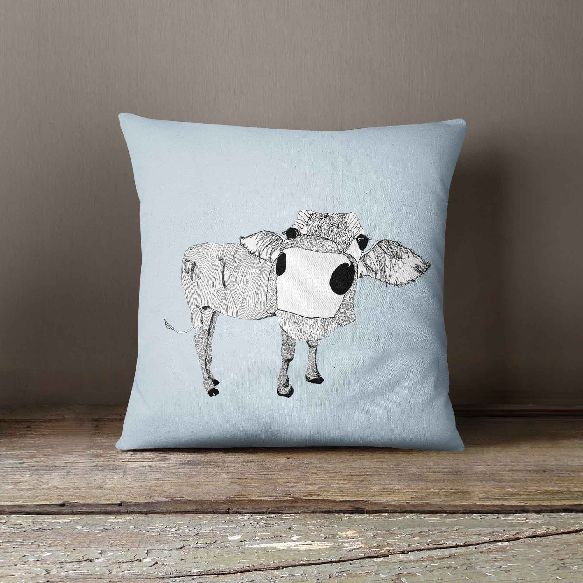 "Casey Rogers Illustration Cushion - ""CowFace"""