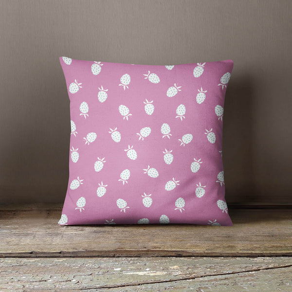Cute Pink and Light Blue Strawberry Pattern Design Cushion