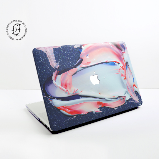 Blue, Pink and White Paints Design Hard Protective Case for all MacBooks