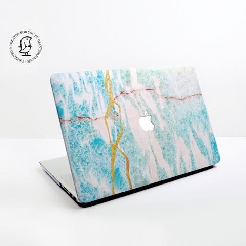 Turquoise, White and Gold Design Hard Protective Case for all MacBooks