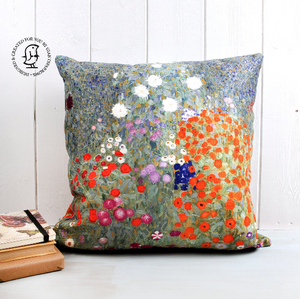 "Gustav Klimt's ""Bauerngarten"" Cushion. Flower Garden in Red, Green, Purple"