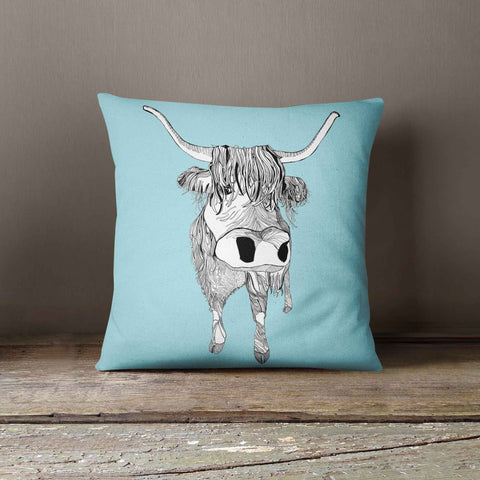 "Casey Rogers Illustration Cushion - ""Highland Cattle"""