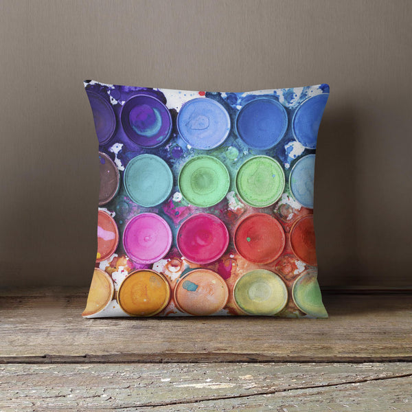 """Paint Palette"" Design Cushion - Watercolour"