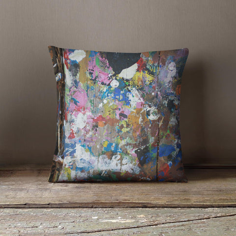 """Paint Splash"" Design Cushion - Wood effect with splashes"
