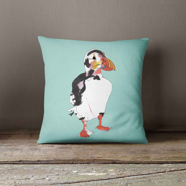 "Casey Rogers Illustration Cushion - ""Puffin1"""