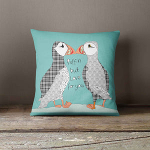 "Casey Rogers Illustration Cushion - ""Puffins"""