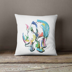 "Casey Rogers Illustration Cushion - ""Rhino"""