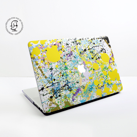 Paint Splat in Yellow, Black and Blue Design Hard Protective Case for all MacBooks