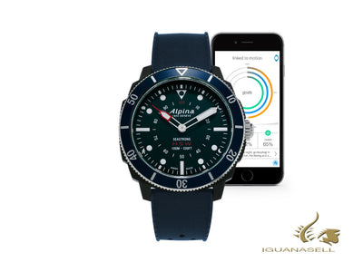 Reloj de cuarzo Alpina Seastrong Horological Smartwatch, Negro, 44mm