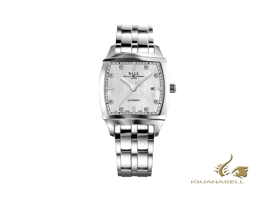 Reloj Automático Ball Conductor Trascendent Pearl Diamond, Día, NL1068D-S3J-WH