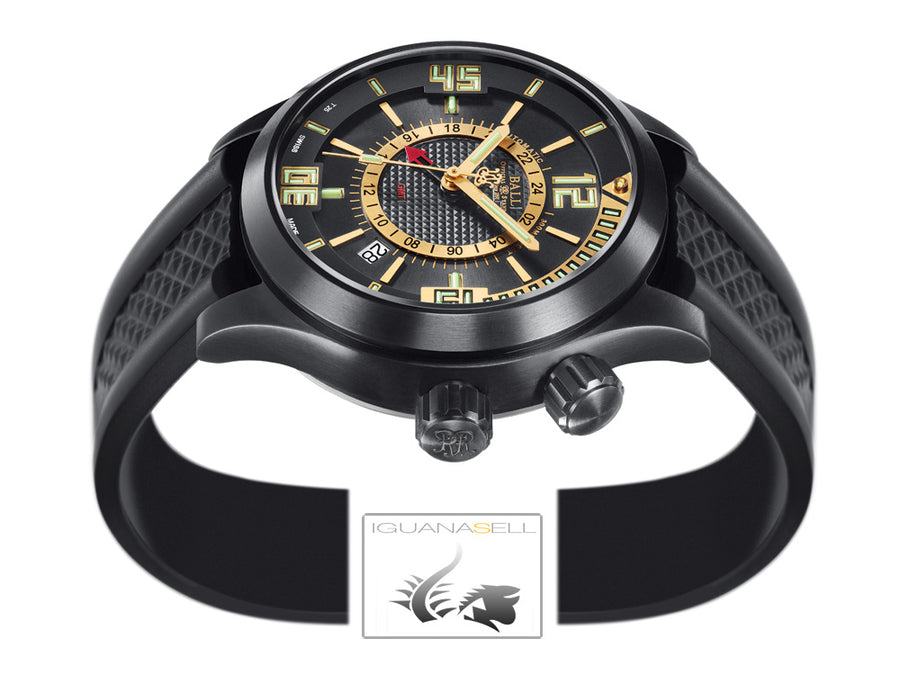 Reloj Ball Engineer Master II Diver GMT, Ball RR1202, Negro, Correa de caucho,