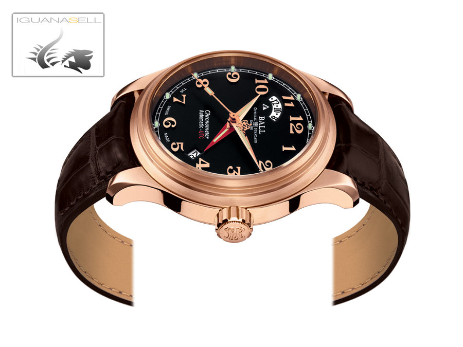 Reloj Ball Trainmaster Cleveland Express Dual Time, Negro, Oro Rosa, COSC