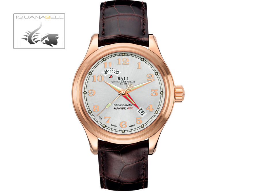Reloj Ball Trainmaster  Cleveland Express Dual Time, Oro Rosa,  Plata, COSC