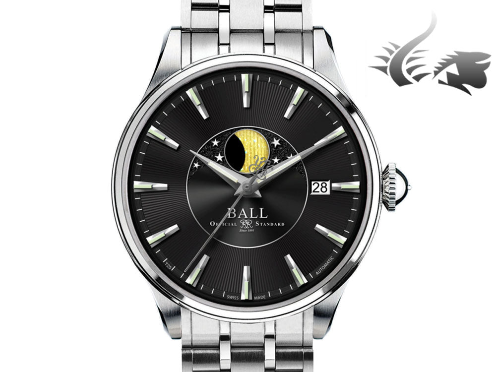 Reloj Automático Ball Trainmaster Moon Phase, Ball RR1801, Negro, NM3082D-SJ-BK