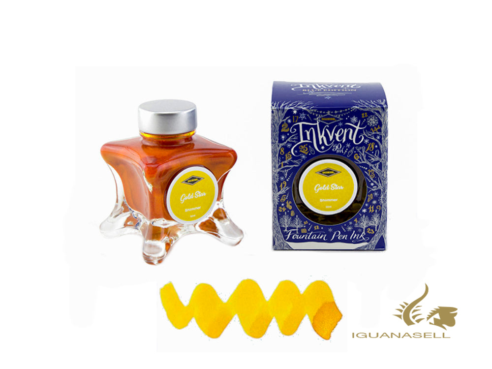 Tintero Diamine Gold Star, Ink Vent Blue, 50ml, Amarillo