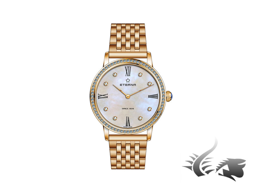Reloj cuarzo Eterna Eternity Lady, ETA 956.412, Oro Rosa, PVD, 32mm, Diamantes