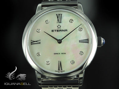 Reloj de cuarzo Eterna Eternity Lady, ETA 956.412, 32mm, Diamantes, Nacár