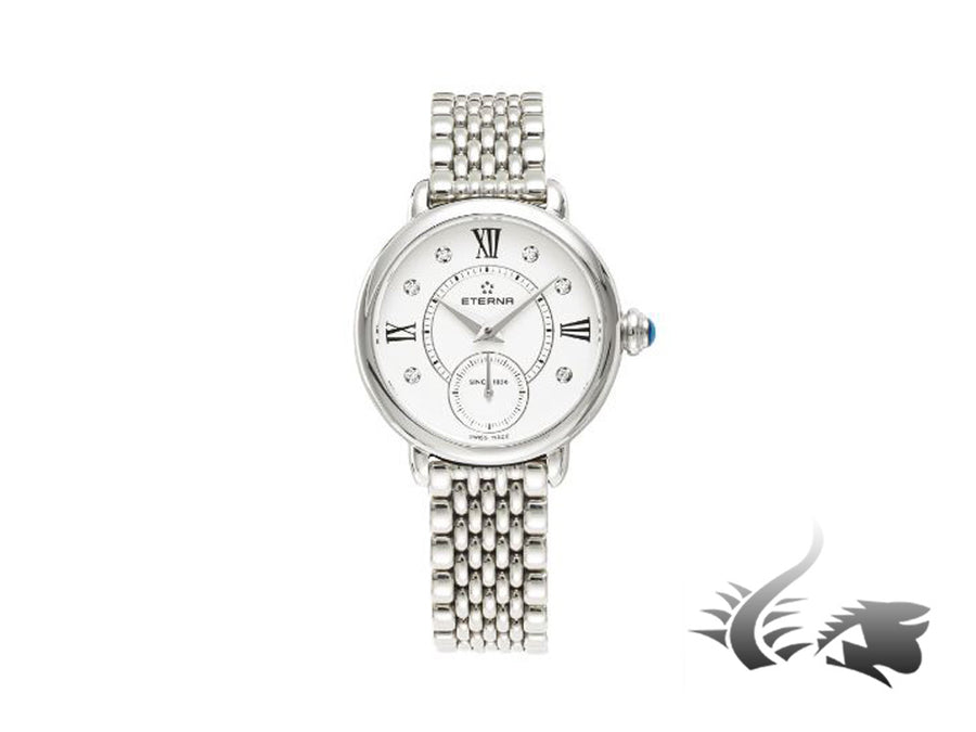 Reloj de cuarzo Eterna Lady Eterna, Ronda 6004D, 28mm, 5 atm, Diamantes, Blanco