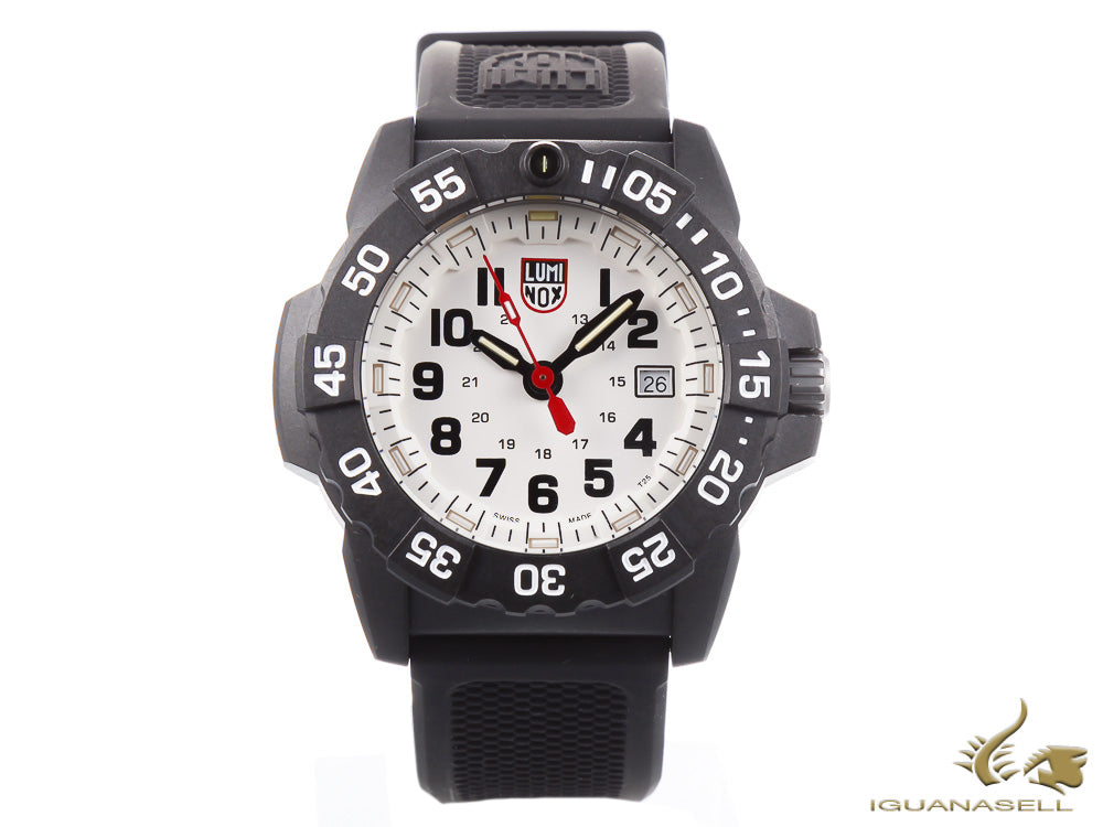 Reloj de cuarzo Luminox Sea Navy Seal 3507, Blanco, Carbono, 45mm, 20 atm