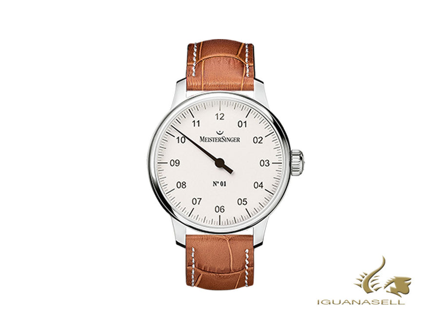 Reloj Manual Meistersinger N1 - 40mm, Blanco, Piel, Cognac, DM301-SG03W