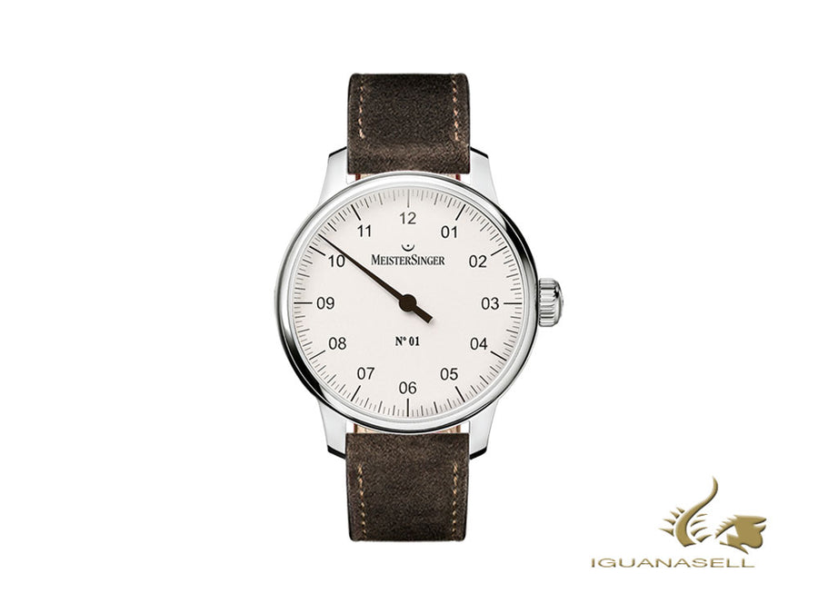 Reloj Manual Meistersinger N1 - 40mm, Blanco, Correa de piel, marrón, DM301-SV02
