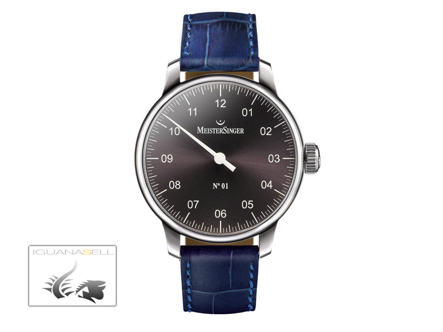 Reloj Meistersinger N1, Carga manual, ETA 2801-2, 43mm. Antracita, AM3307-SG04
