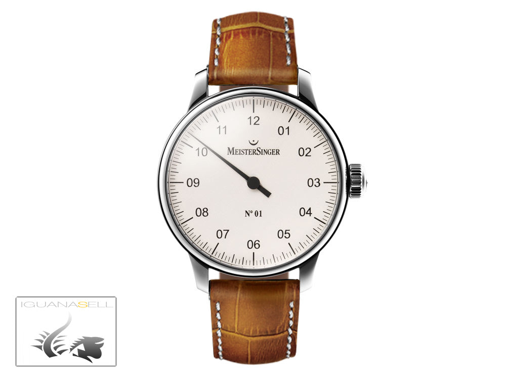 Reloj Meistersinger N1, Carga manual, ETA 2801-2, 43mm. Correa de piel, AM3301