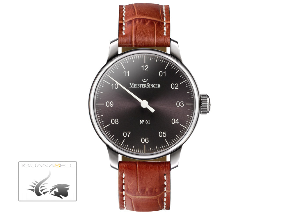 Reloj Meistersinger N1, Carga manual, ETA 2801-2, 43mm. Piel Marrón, AM3307