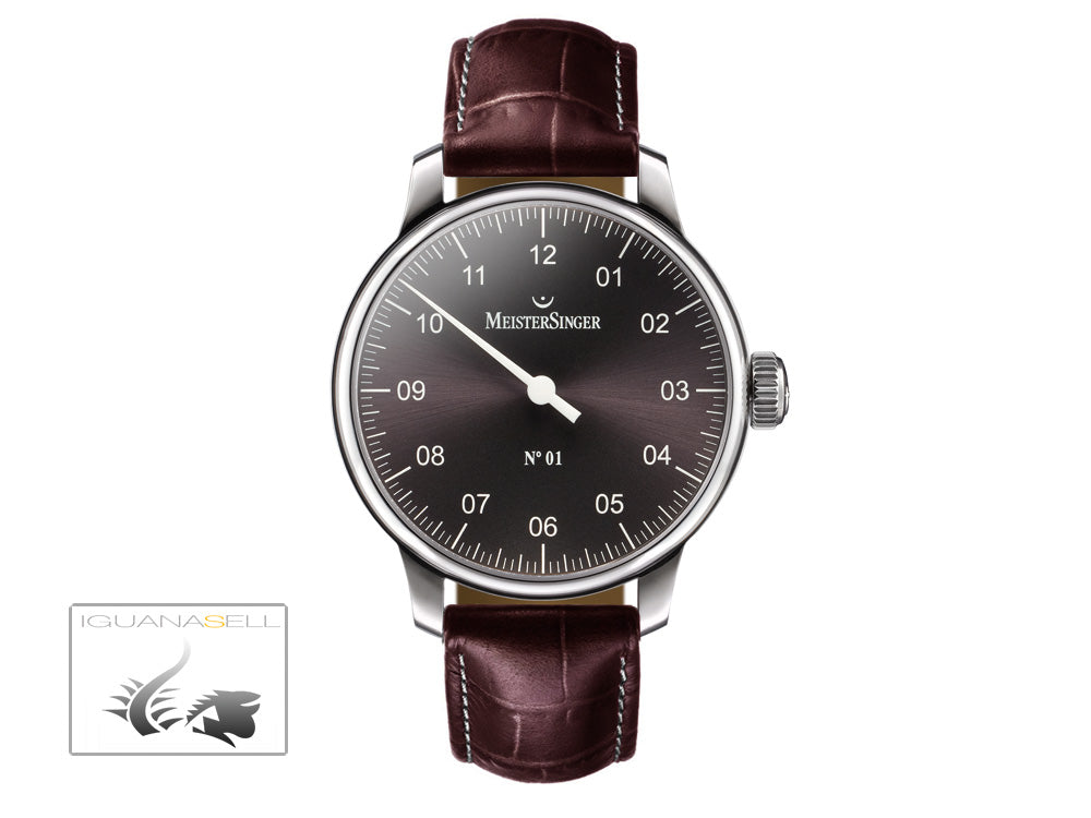 Reloj Meistersinger N1, Carga manual, ETA 2801-2, 43mm. Correa de piel, AM3307