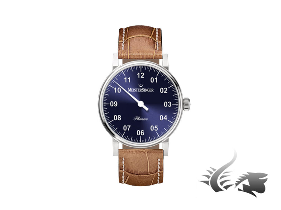 Reloj Meistersinger Phanero, Carga manual, Azul sunburst, 35mm, PH308-SG13